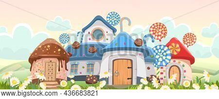 Candy Hut Among Daisies. Sweet Caramel Fairy House. Summer Cute Landscape. Illustration In Cartoon S