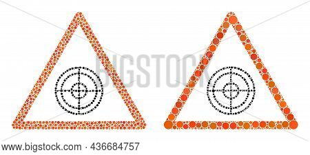 Dot Target Warning Icon. Collage Target Warning Icon United From Circle Elements In Different Sizes