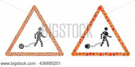 Dot Slavery Warning Icon. Collage Slavery Warning Icon Organized From Round Elements In Different Si