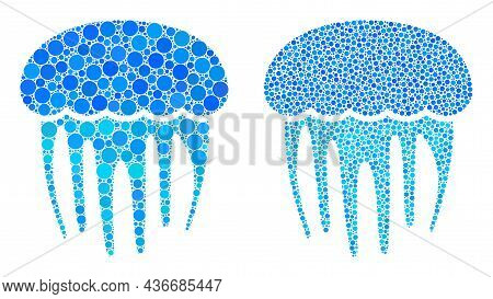 Dotted Jellyfish Icon. Mosaic Jellyfish Icon Composed Of Circle Items In Various Sizes And Color Hue
