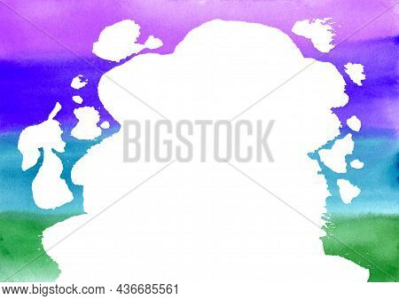 Abstract Big White Blobs And Drops On Colorful Watercolor Horizontal Lines Rainbow Textured Backgrou