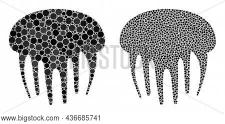 Pixelated Jelly Fish Icon. Mosaic Jelly Fish Icon United From Spheric Parts In Various Sizes And Col