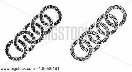 Dotted Circle Chain Icon. Collage Circle Chain Icon Organized From Spheric Items In Random Sizes And