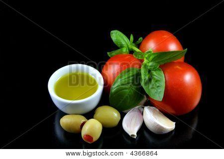 Tomato, Basil, Garlic, Olive oil
