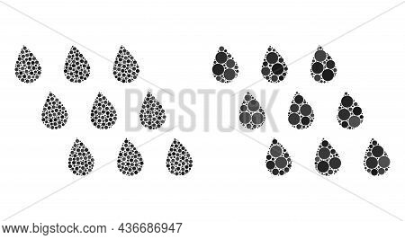 Dot Rain Drops Icon. Mosaic Rain Drops Icon Organized From Round Elements In Various Sizes And Color