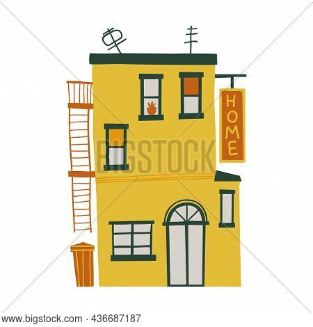 Small Cozy House Drawn By Hands. Flat Design. Hand Drawn Trendy Illustrations. Color Vector Illustra