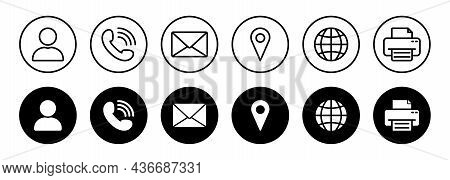 Set Of Online Contact Icon. Web Line And Silhouette Icons. Website Black Buttons Symbol Of Call, Mes