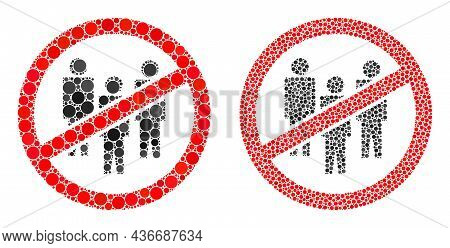 Pixel No People Crowd Icon. Collage No People Crowd Icon United From Circle Elements In Different Si
