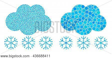 Dot Snow Cloud Icon. Collage Snow Cloud Icon Organized From Circle Items In Random Sizes And Color S