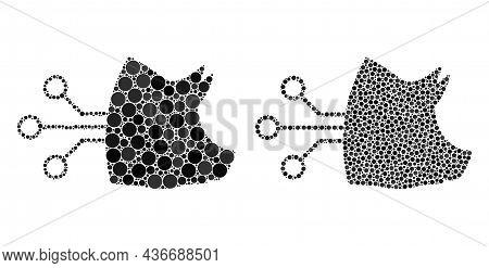 Pixelated Pig Brain Interface Icon. Collage Pig Brain Interface Icon United From Spheric Items In Va