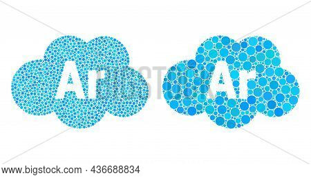 Pixelated Argon Cloud Icon. Mosaic Argon Cloud Icon United From Round Items In Random Sizes And Colo