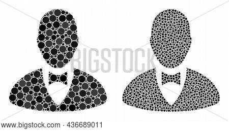 Pixelated Elegant Boss Icon. Collage Elegant Boss Icon Constructed From Round Items In Random Sizes