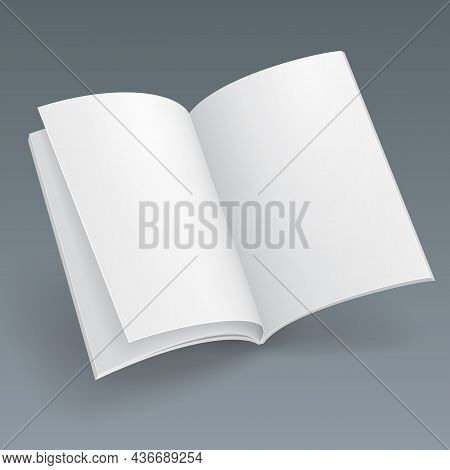 Mockup Blank Flying Magazine, Book, Booklet, Brochure, Cover. Illustration Isolated On Gray Backgrou