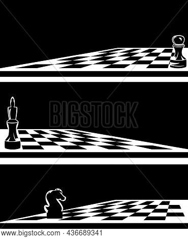 Single Chess Piece On A Game Board -  Black And White Vector Outline Of King, Pawn, Knight Horse And