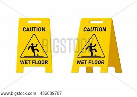 Wet Floor Caution Sign Isolated On White Background, Public Warning Yellow Symbol Clipart. Slippery