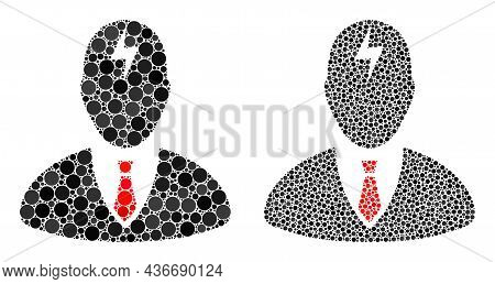 Dotted Boss Headache Icon. Collage Boss Headache Icon Organized From Round Parts In Random Sizes And
