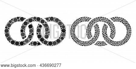 Pixelated Circle Chain Link Icon. Mosaic Circle Chain Link Icon Composed Of Round Parts In Random Si
