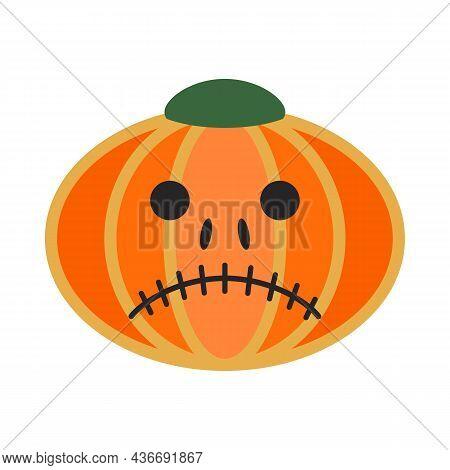 Orange Sad Pumpkin. Gourd Fruit Silhouette. Halloween Or Thanksgiving. Cartoon Sad Mask. Ripe Squash