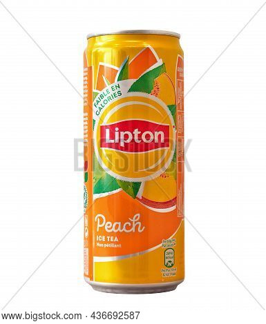 Aluminium Can Of Lipton Ice Tea With Peach Flavour Isolated On A White Background, Made For Belgium.