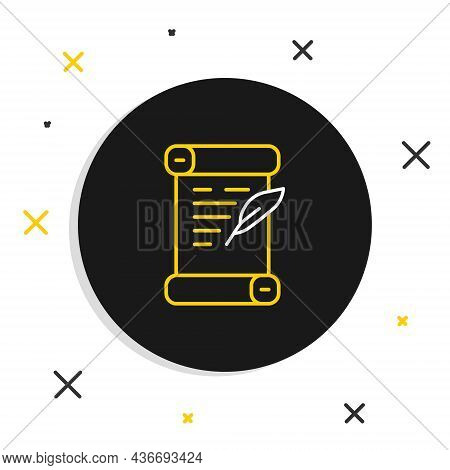 Line Decree, Paper, Parchment, Scroll Icon Icon Isolated On White Background. Colorful Outline Conce