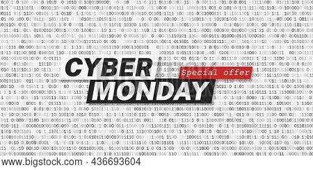 Cyber Monday Promotion Banner Template. White Background With Binary Code Pattern. Layout For Social