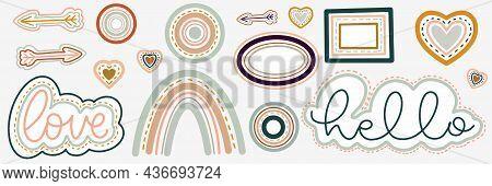 Love Boho Illustration. Romantic Boho Icons Set. Rainbow And Love Illustration. Hand Drawn Cartoon P