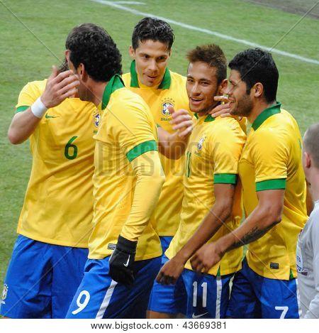 GENEVA, SWITZERLAND - MARCH 21, 2013: Brazilian soccer team celebrate goal during the friendly match