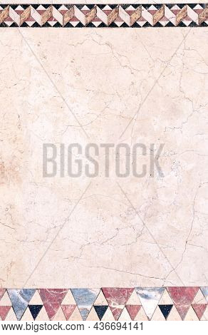 Vertical or horizontal background with ancient decorative mosaic on marble. Vertical banner with decorative stone ornament. Mock up template. Copy space for text
