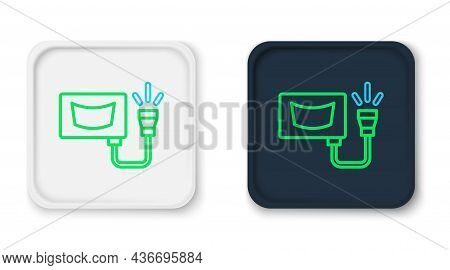 Line Ultrasound Icon Isolated On White Background. Medical Equipment. Colorful Outline Concept. Vect