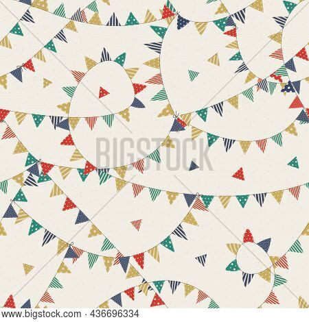 Vector Seamless Pattern With Colorful Checkboxes On White Background. For Fabric, Textile, Gift And