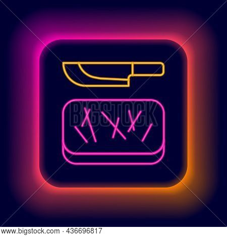 Glowing Neon Line Cutting Board And Knife Icon Isolated On Black Background. Chopping Board Symbol.