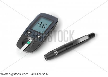 Diabetes blood sugar glucometer isolated on white background