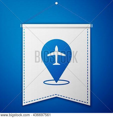 Blue Plane Icon Isolated On Blue Background. Flying Airplane Icon. Airliner Sign. White Pennant Temp