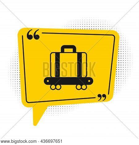 Black Airport Conveyor Belt With Passenger Luggage, Suitcase, Bag, Baggage Icon Isolated On White Ba