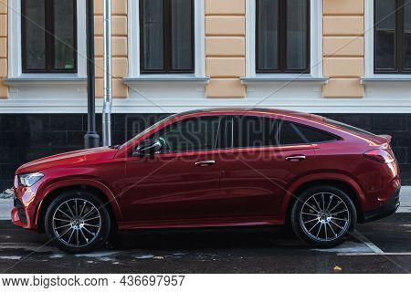 Moscow, Russia - October  13, 2021: Red Mercedes Gle Coupe  Is Parked  On The Street On A Warm  Autu