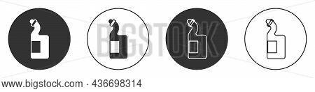 Black Dishwashing Liquid Bottle Icon Isolated On White Background. Liquid Detergent For Washing Dish