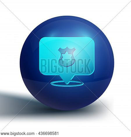 Blue Police Badge Icon Isolated On White Background. Sheriff Badge Sign. Blue Circle Button. Vector