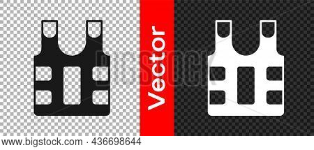 Black Bulletproof Vest For Protection From Bullets Icon Isolated On Transparent Background. Body Arm