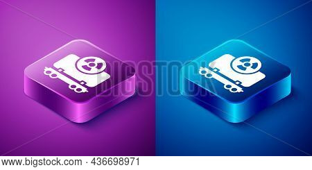 Isometric Radioactive Cargo Train Wagon Icon Isolated On Blue And Purple Background. Freight Car. Ra