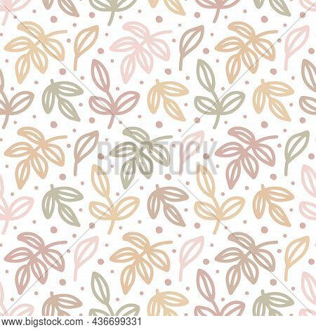 Floral Seamless Pattern. Multicolor Tree Branches And Leaves. Abstract Contour Plant, Twigs.pale Col