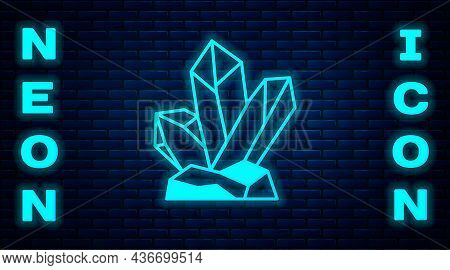 Glowing Neon Magic Stone Icon Isolated On Brick Wall Background. Fantasy Crystal. Jewelry Gem For Ga