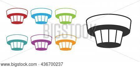 Black Smoke Alarm System Icon Isolated On White Background. Smoke Detector. Set Icons Colorful. Vect