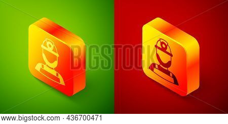 Isometric Miner In A Helmet Icon Isolated On Green And Red Background. Square Button. Vector