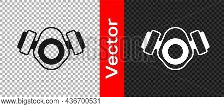 Black Gas Mask Icon Isolated On Transparent Background. Respirator Sign. Vector