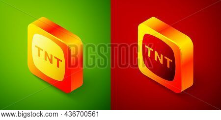 Isometric Detonate Dynamite Bomb Stick Icon Isolated On Green And Red Background. Time Bomb - Explos