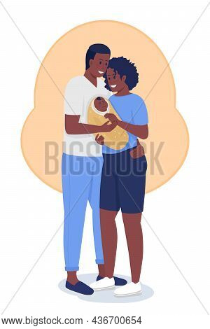 Happy Young Family Semi Flat Color Vector Characters. Hugging Figures. Full Body People On White. Pa