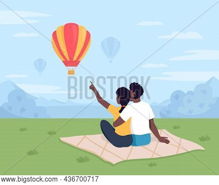 Watching Air Balloons Flat Color Vector Illustration. Boyfriend And Girlfriend Sitting On Blanket. R