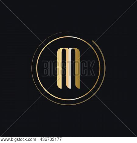 Initial M Letter Logo With Gold Color Luxury Concept. M Logo Design Modern And Premium Logo Template