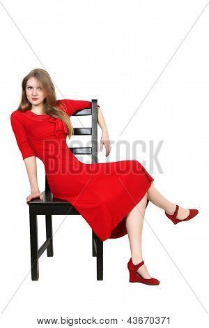 Portrait Of  Beautiful Blonde In Red Dress