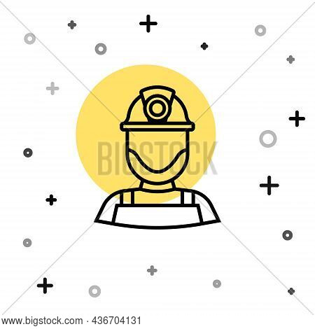 Black Line Miner In A Helmet Icon Isolated On White Background. Random Dynamic Shapes. Vector